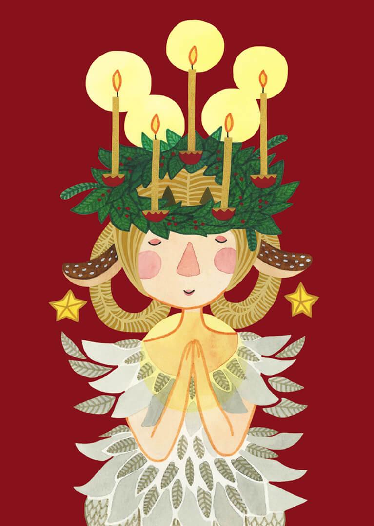 Sanne Bruinsma Illustraties & Vormgeving kerst kerstkaart ansichtkaart post Christmas engel kaarsen kerstkrans sterren veren vleugels hertje meisje