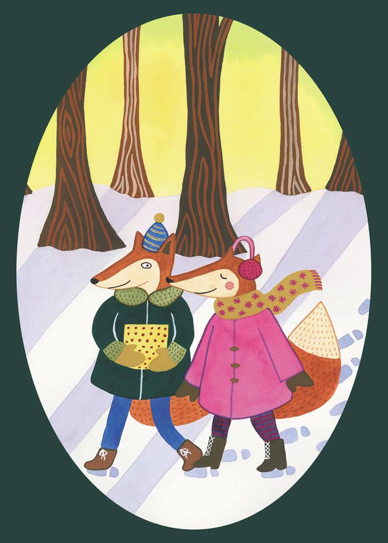 Sanne Bruinsma Illustraties & Vormgeving kerst kerstkaart Christmas post winter sneeuw vos bos sjaal cadeautje