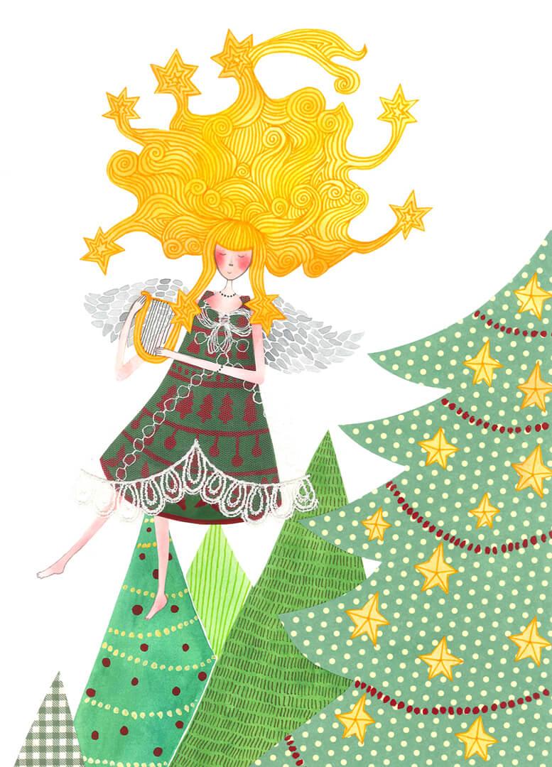 Sanne Bruinsma Illustraties & Vormgeving kerst kerstkaart ansichtkaart post Christmas engel harp sterren kerstboom