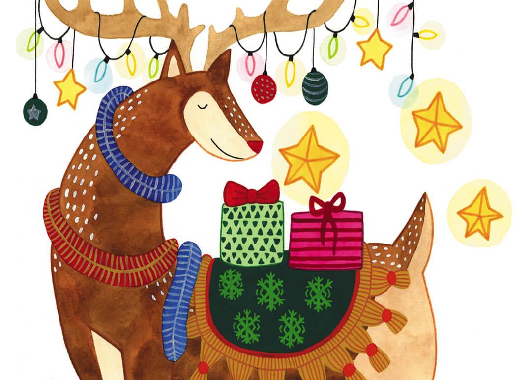 Sanne Bruinsma Illustraties & Vormgeving kerst kerstkaart Christmas hert lampjes lichtjes cadeautjes versierd gewei sterren slingers