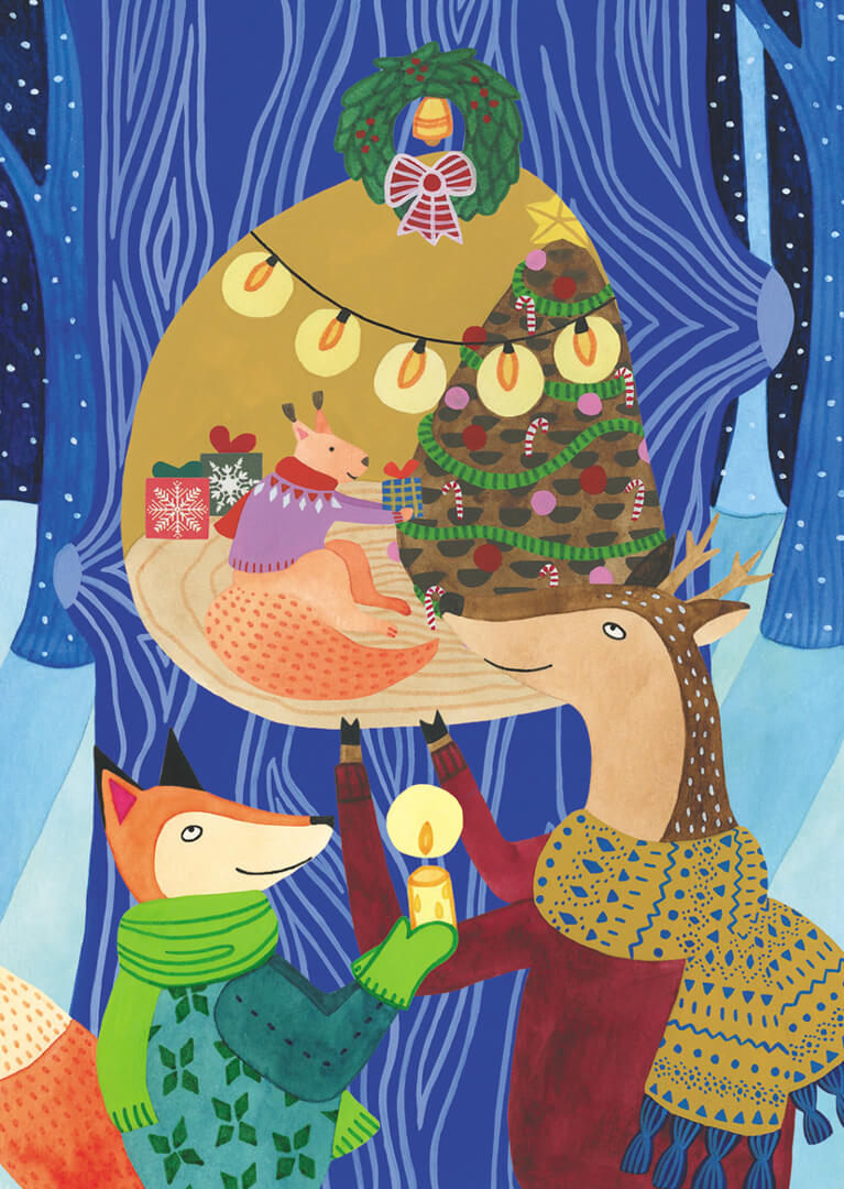 Sanne Bruinsma Illustraties & Vormgeving kerst kerstkaart winter post ansichtkaart Christmas bos hert vos eekhoorn sneeuw boom