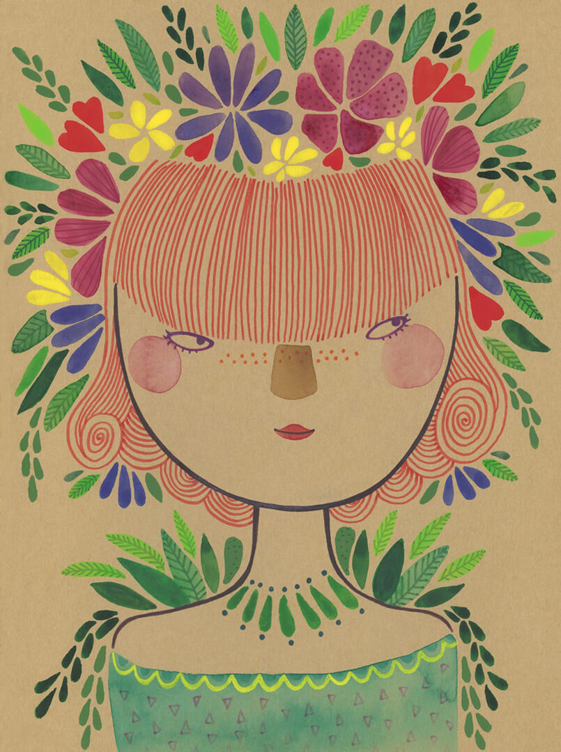 Sanne Bruinsma Illustraties & Vormgeving illustratie schetsboek portret bloemenkroon festival planten girl meisje