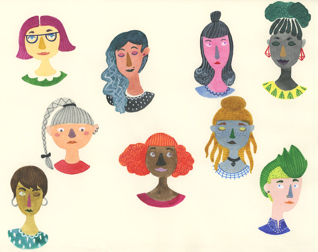 Sanne Bruinsma Illustraties & Vormgeving illustratie schetsboek portretten girls vrouwen culturen verschillend