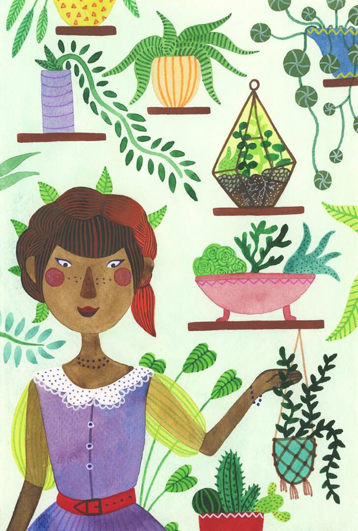 Sanne Bruinsma Illustraties & Vormgeving illustratie planten verzameling botanisch tuin kas