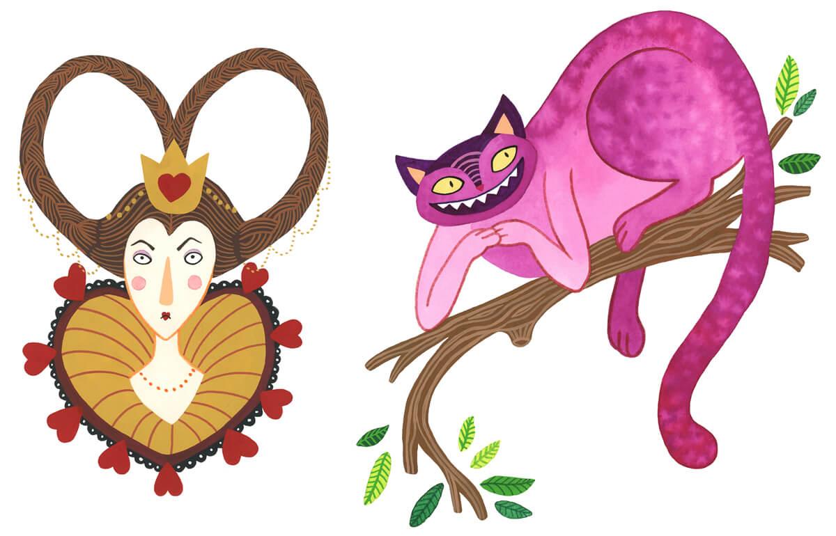 Sanne Bruinsma Illustraties & Vormgeving Boekie Boekie stArt Award 2015 Alice in Wonderland wedstrijd inzending Hartenkoningin queen of hearts chesire cat karakters personages