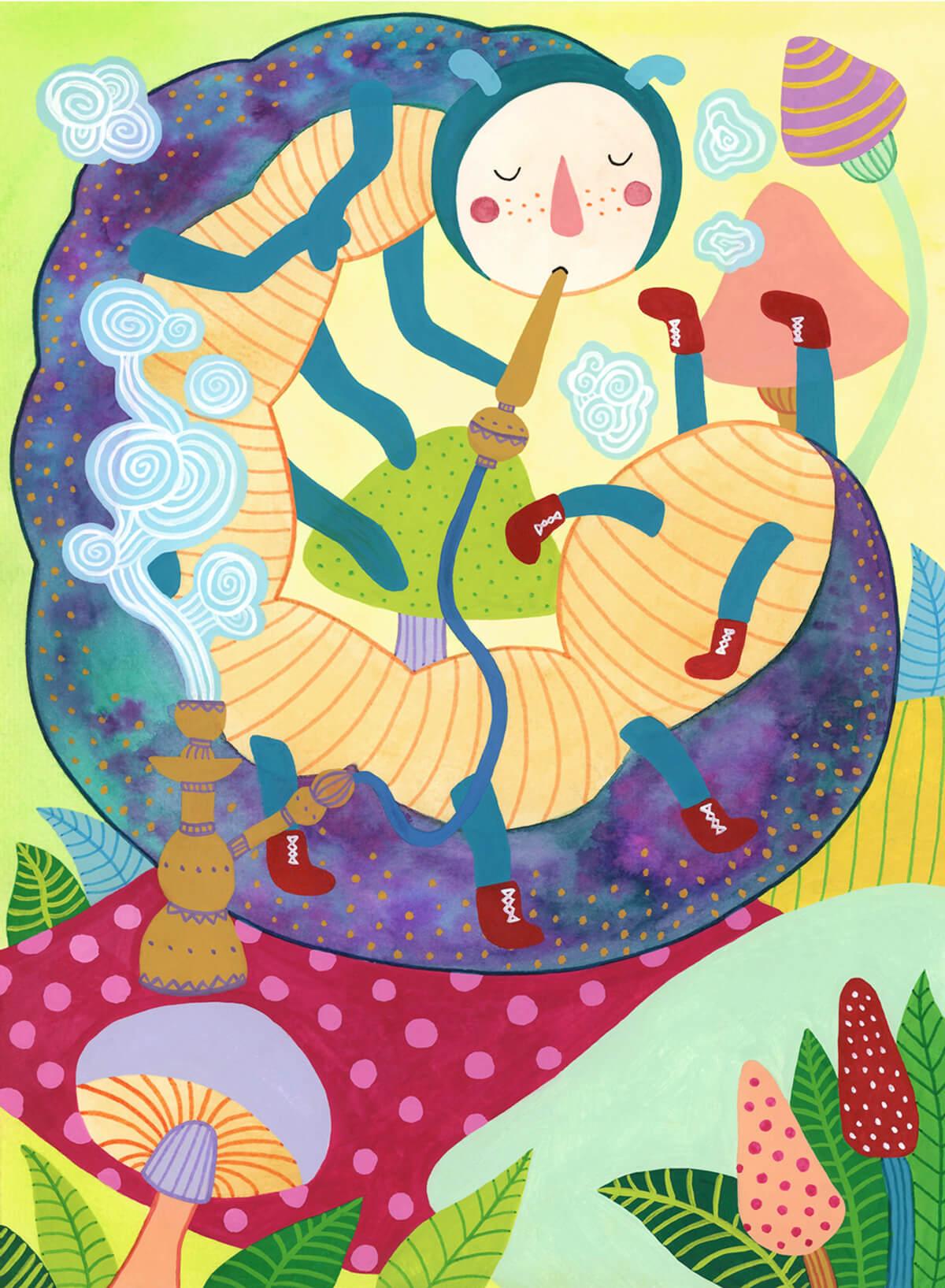 Sanne Bruinsma Illustraties & Vormgeving Boekie Boekie stArt Award 2015 Alice in Wonderland rups illustratie wedstrijd inzending