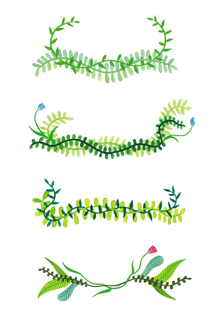 Sanne Bruinsma Illustraties & Vormgeving illustratie planten bloemen bladeren versieringen decoratie kransen