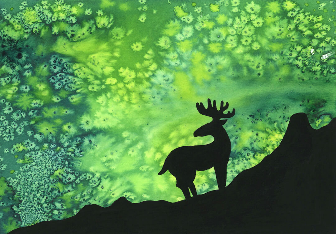 Sanne Bruinsma Illustraties & Vormgeving illustratie eland rendier noorderlicht poollicht berg aurora ecoline gouache silhouet
