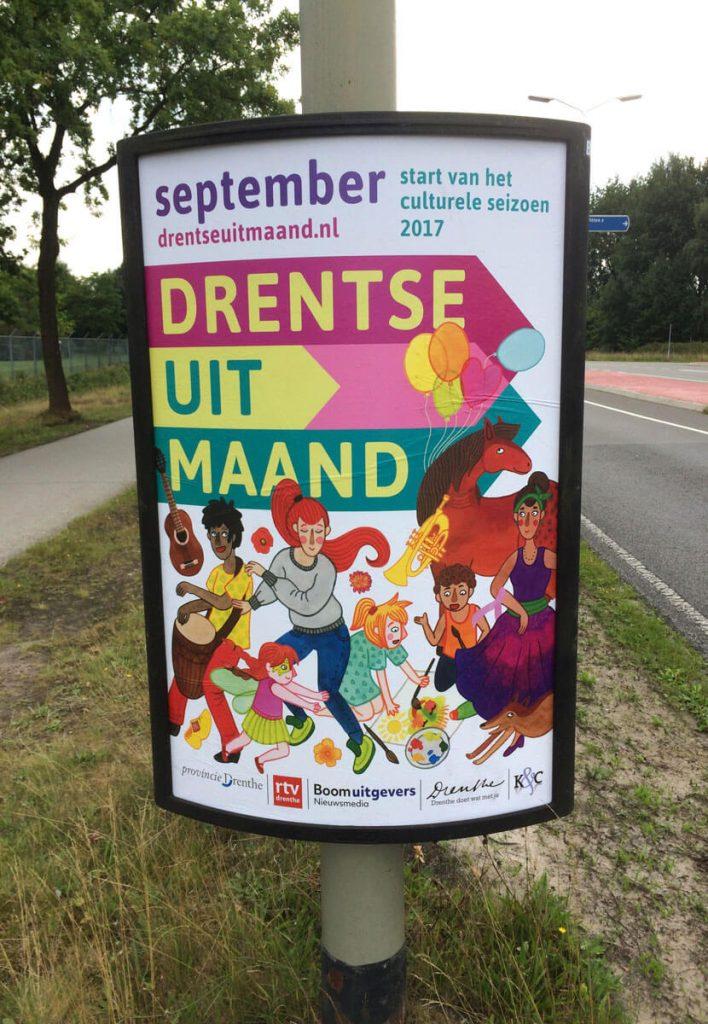 Poster van de Drentse Uitmaand 2017 start van het culturele seizoen