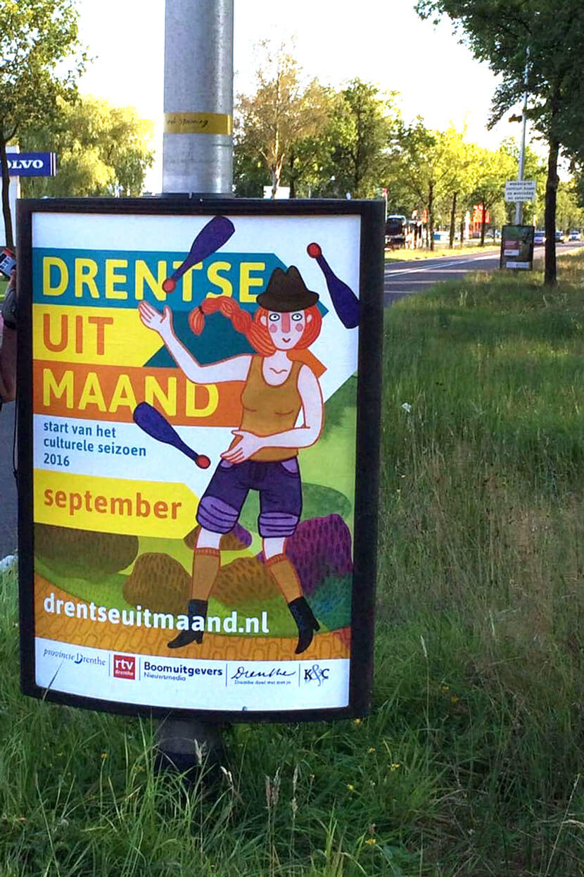 Poster voor de Drentse Uitmaand campagne 2016, start van het culturele seizoen Drenthe