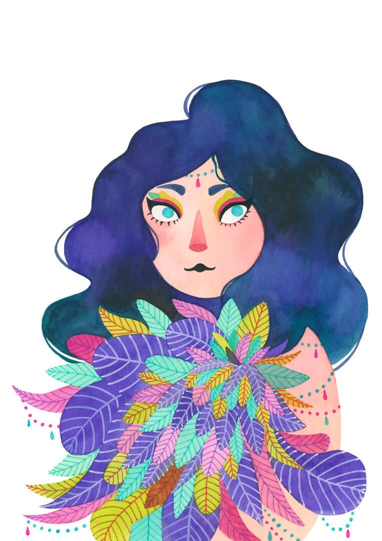 Sanne Bruinsma Illustraties & Vormgeving illustratie illustration vrij werk veren meisje lady feathers pretty outfit costume fantasy