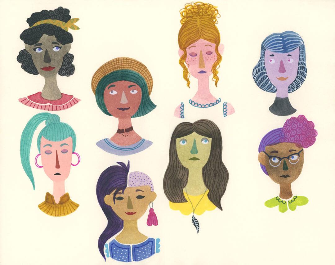 Sanne Bruinsma illustraties en vormgeving illustratie girls meiden vrouwen portret gezicht dames ladies cultureel schetsboek gouache waterverf