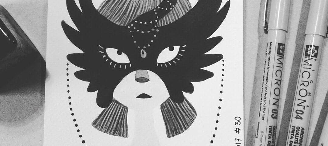 Sanne Bruinsma Illustraties & Vormgeving Inktober 2017 Mask masker illustratie inkt illustrator schets doodle schetsboek fineliner ecoline