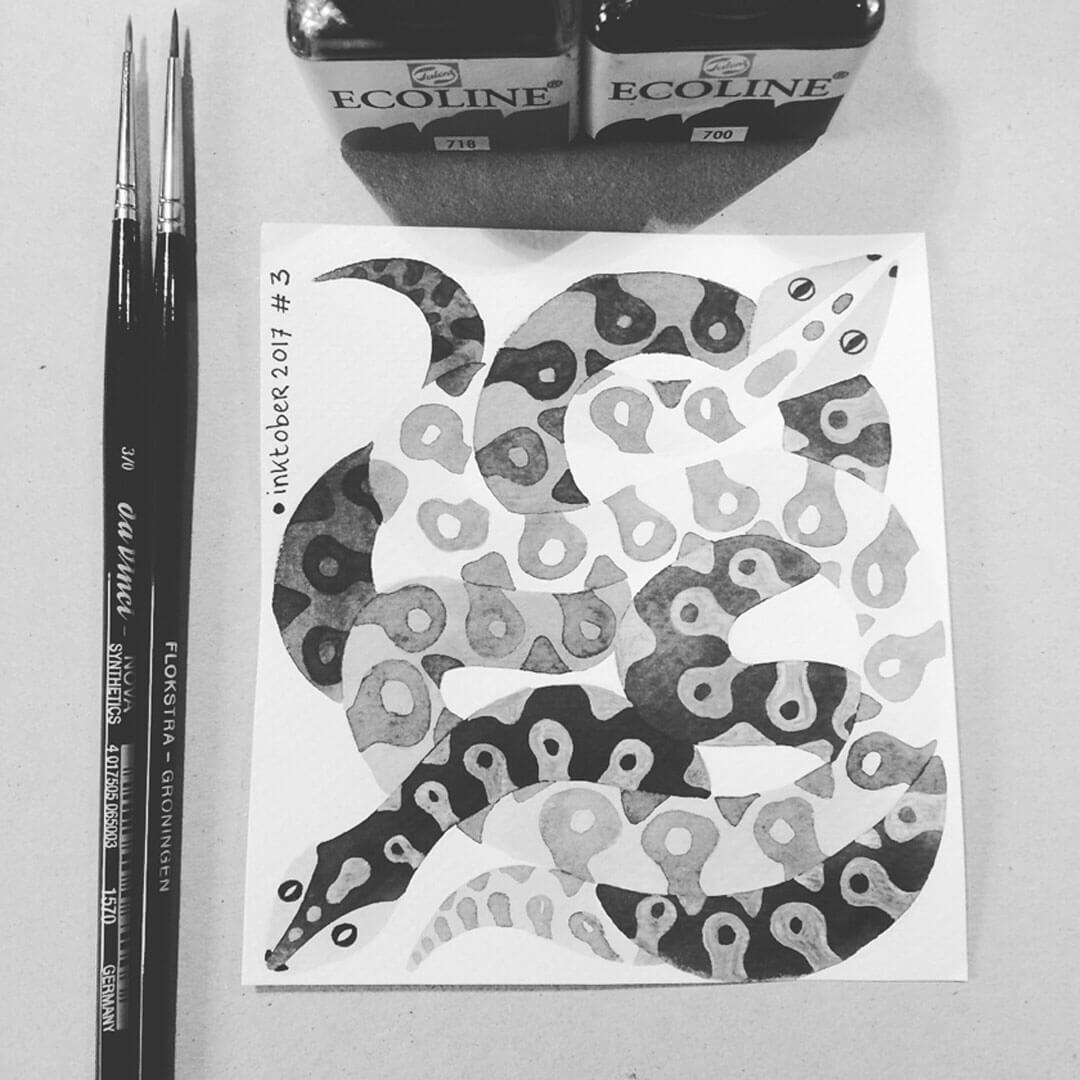 Sanne Bruinsma Illustraties & Vormgeving Inktober 2017 Poison slangen vergif inkt illustratie illustrator ecoline penseel fineliner