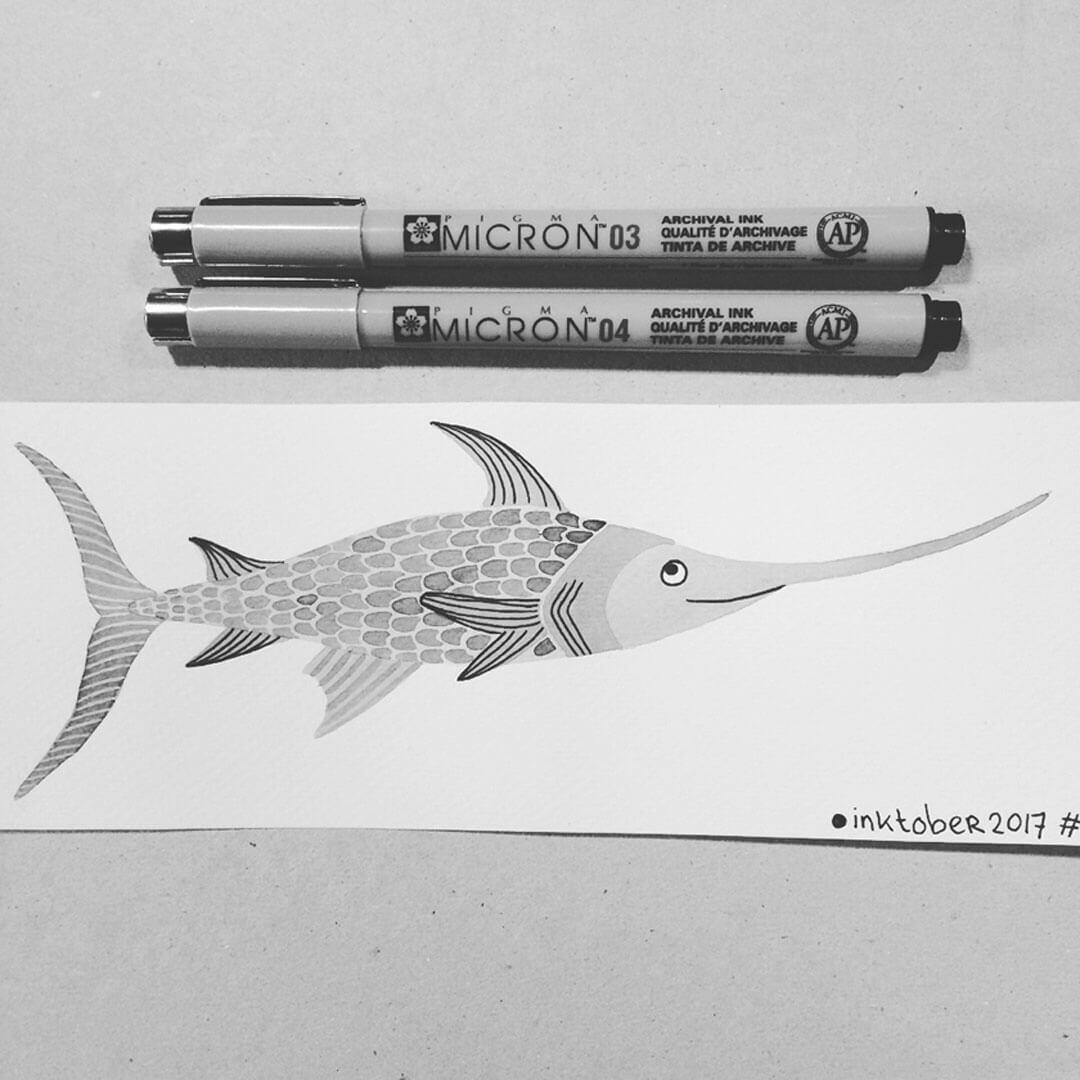 Sanne Bruinsma Illustraties & Vormgeving Inktober 2017 Sword zwaard zwaardvis zeilvis illustratie tekening vis inkt fineliner