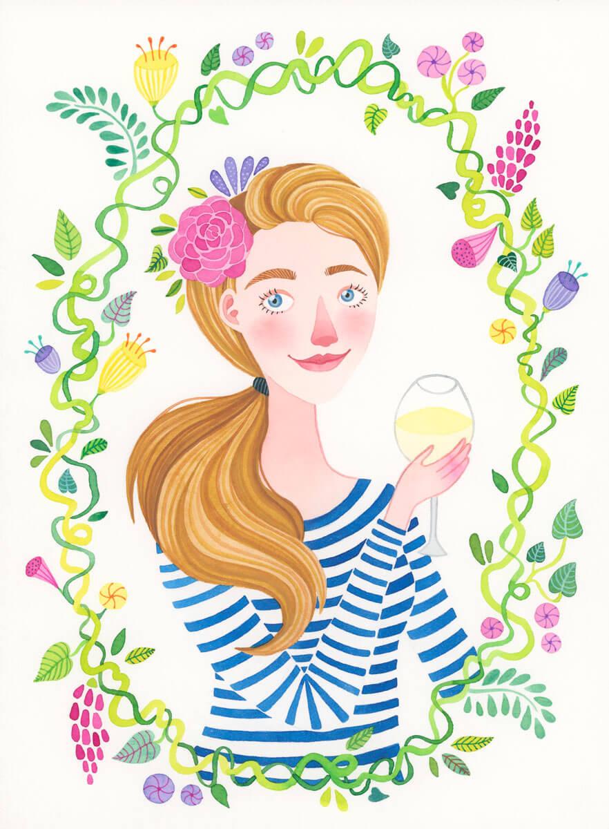 Sanne Bruinsma Illustraties & Vormgeving illustratie portret opdracht vriendin cadeau kado verjaardag tekening schilderij bloemen planten lente fleurig