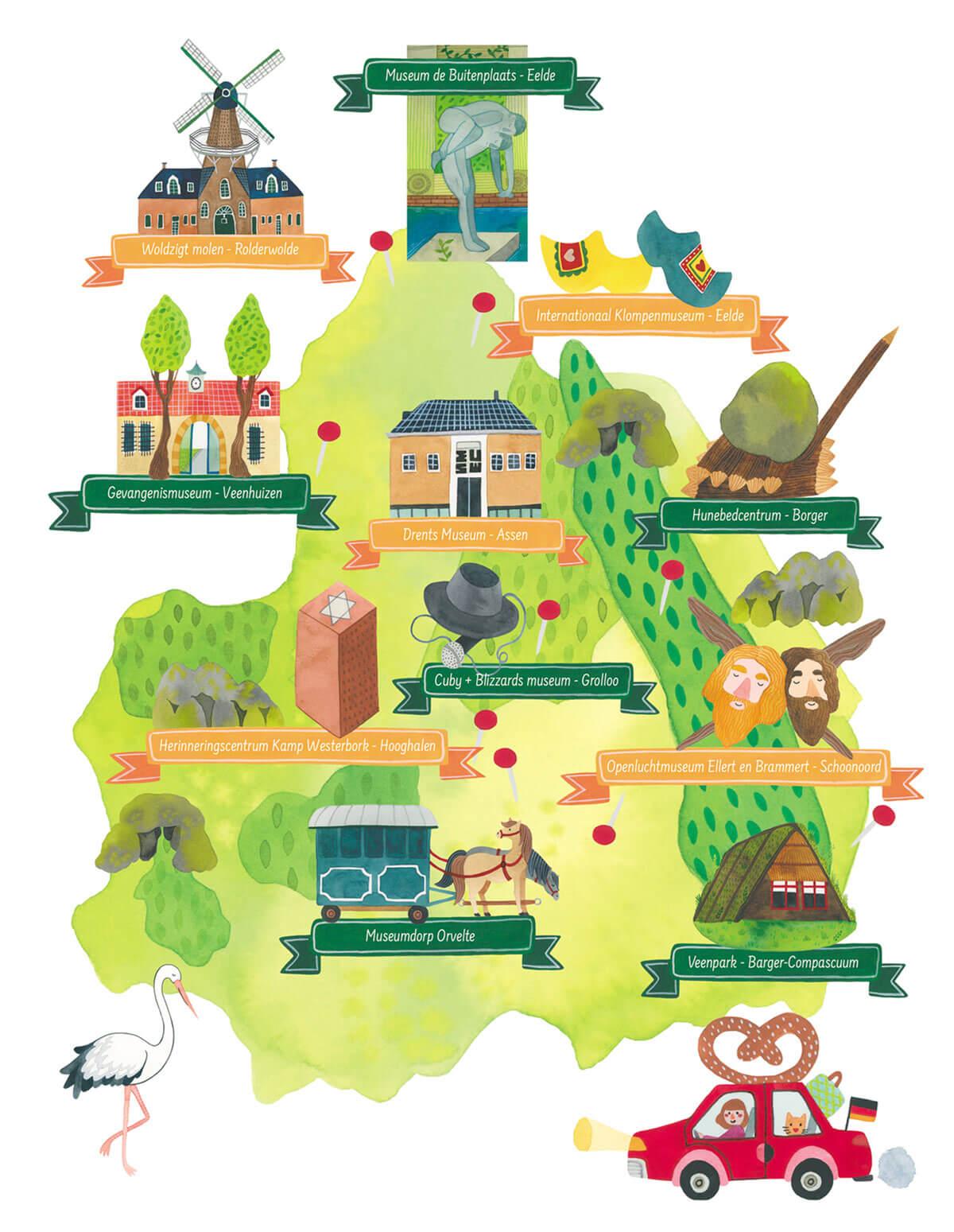 Drenthe Magazine tijdschrift provincie trekpleisters kaart poster toerisme hoogtepunten bezoeken museum parken molen