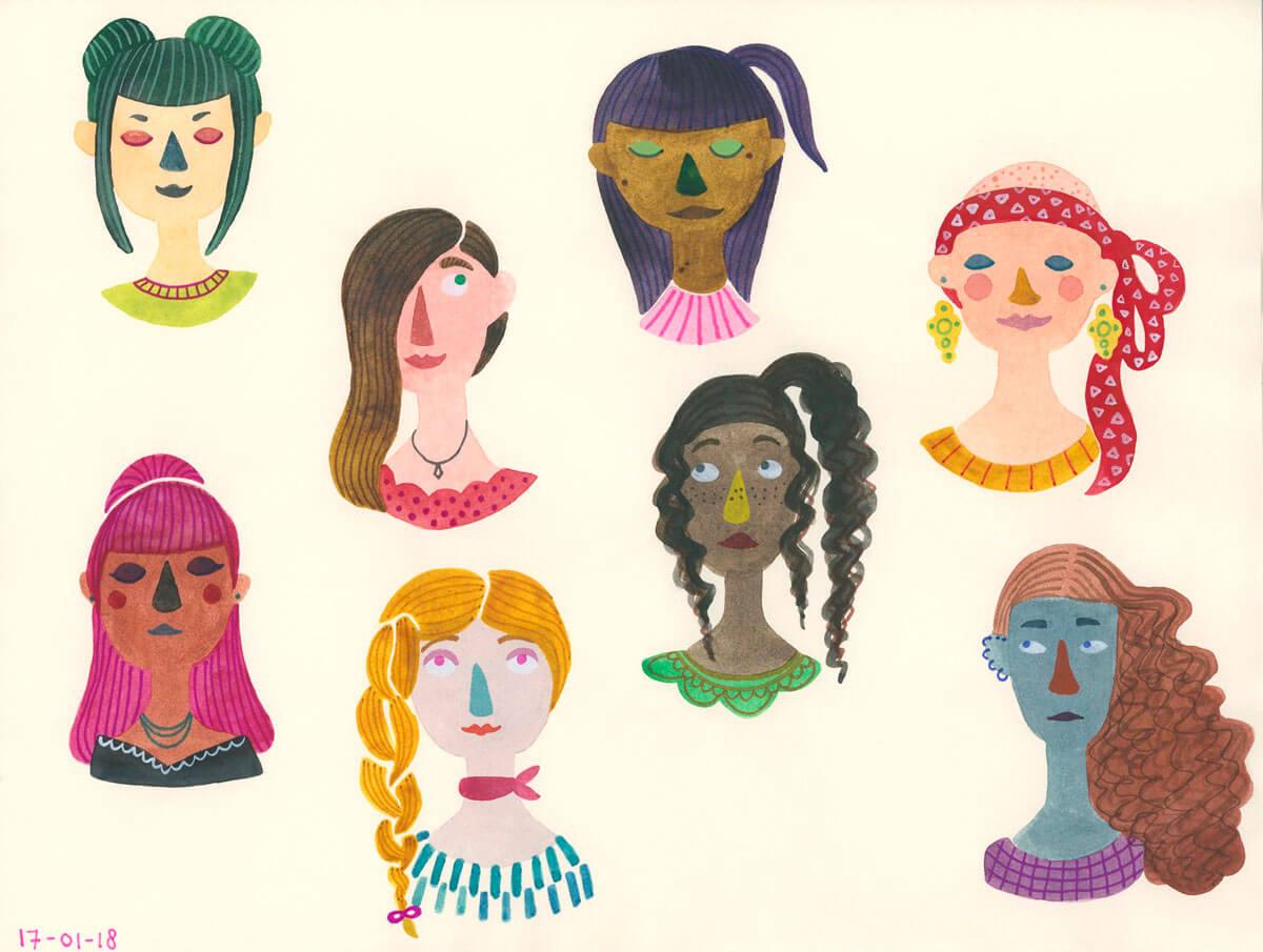 Sanne Bruinsma illustratie portretten portret buste dames meiden hoofd hoofden meisjes fashion stijlvol tekening schetsboek