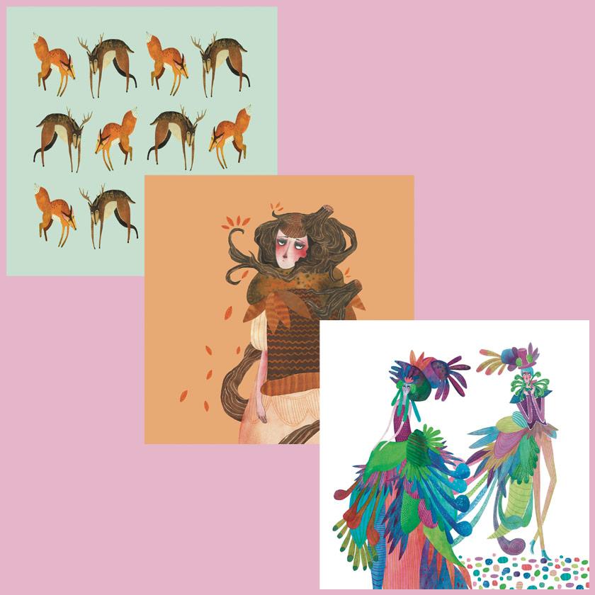 Sanne Bruinsma Illustraties & Vormgeving Webshop kaartenset vierkant originele illustraties