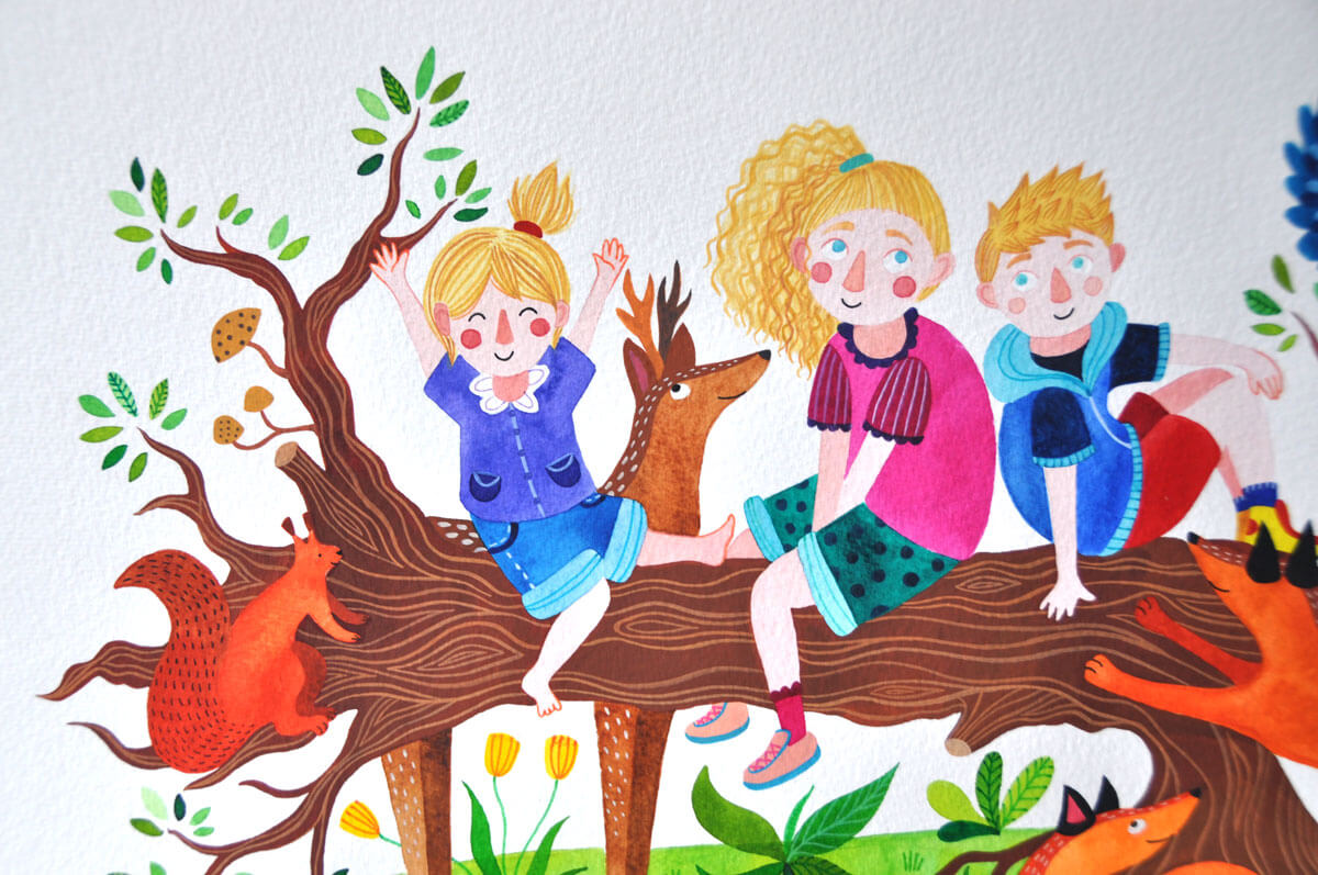 Sanne Bruinsma illustratie portret schilderij tekening kinderen kinderkamer cadeau decoratie natuur dieren